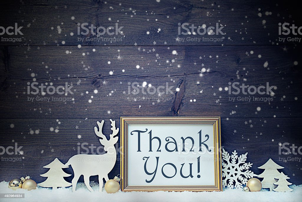 Vintage White And Golden Christmas Card, Snowflakes, Thank You stock photo