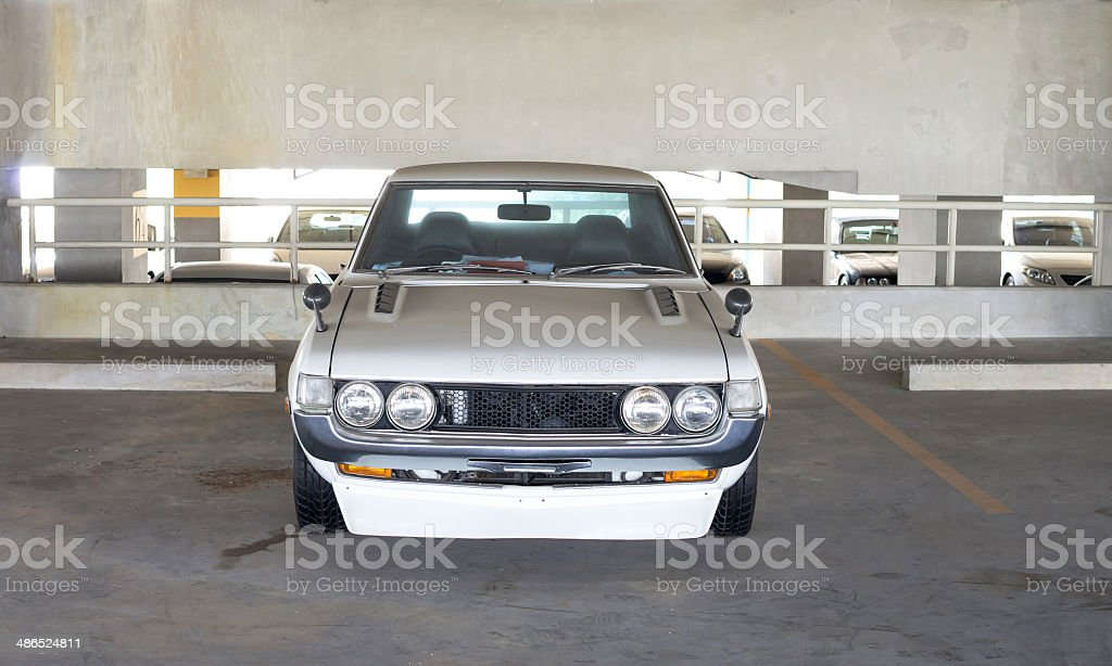 vintage white color car at park stock photo