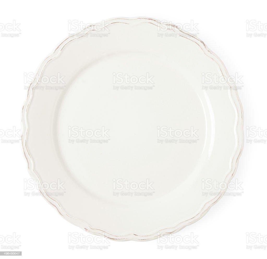 Vintage white empty plate on white background stock photo