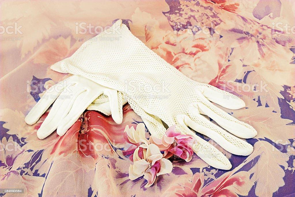 Vintage white gloves stock photo