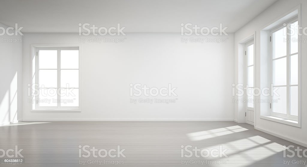 Vintage white room with door and window in new home stock photo