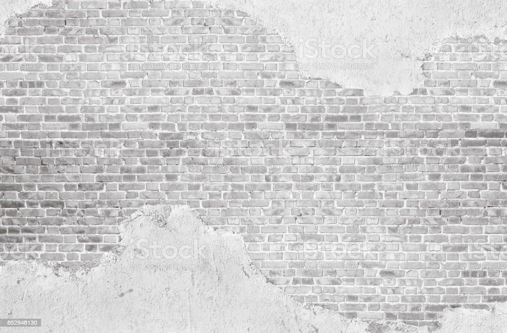 Vintage whitewashed plastered  old  brick wall  textured background. stock photo