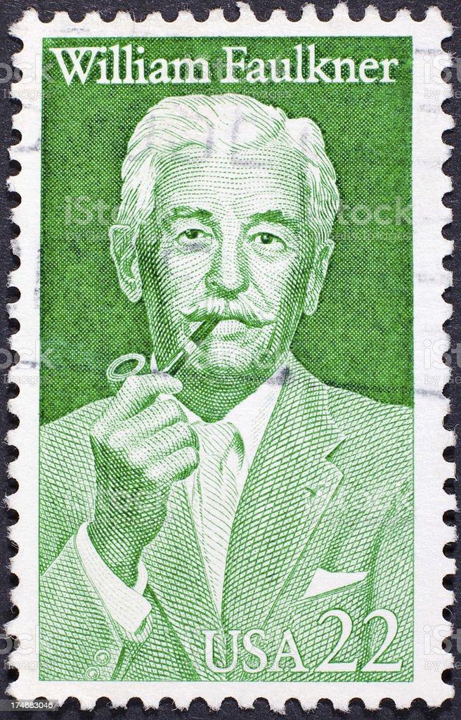 Vintage William Faulkner Postage Stamp stock photo
