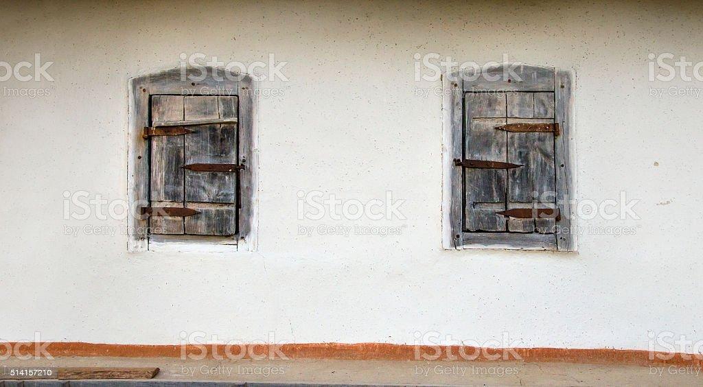 vintage window hut stock photo