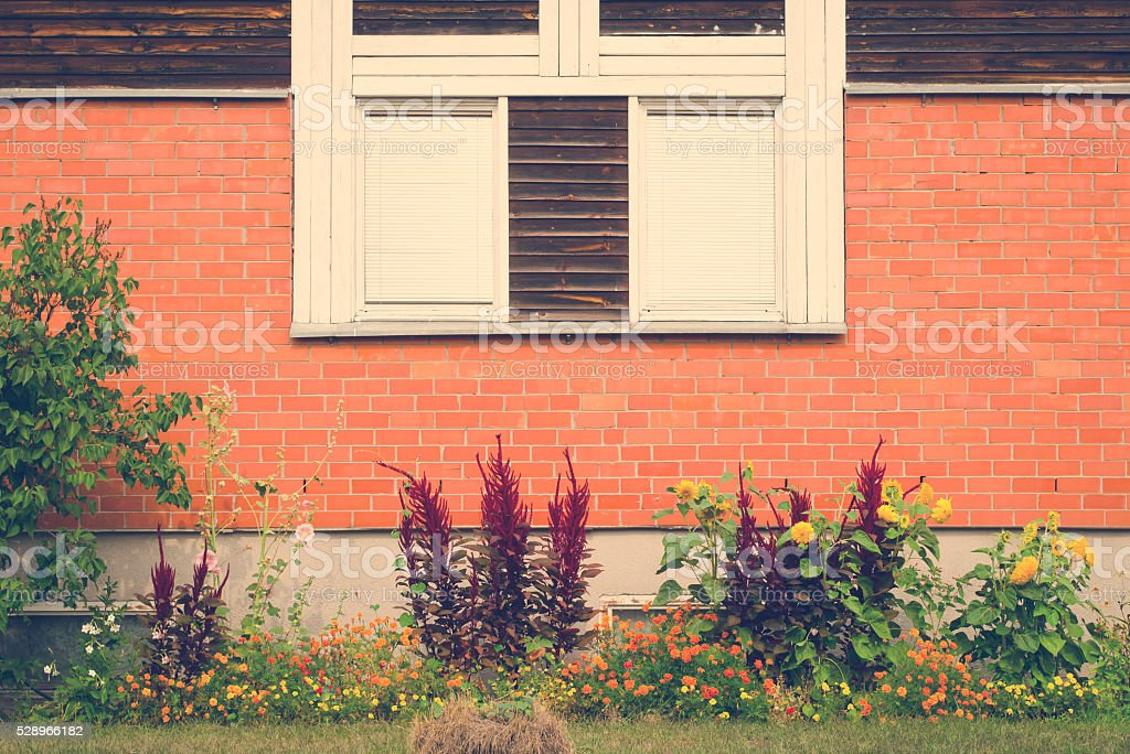 Vintage window on brick wall and garden underneath stock photo