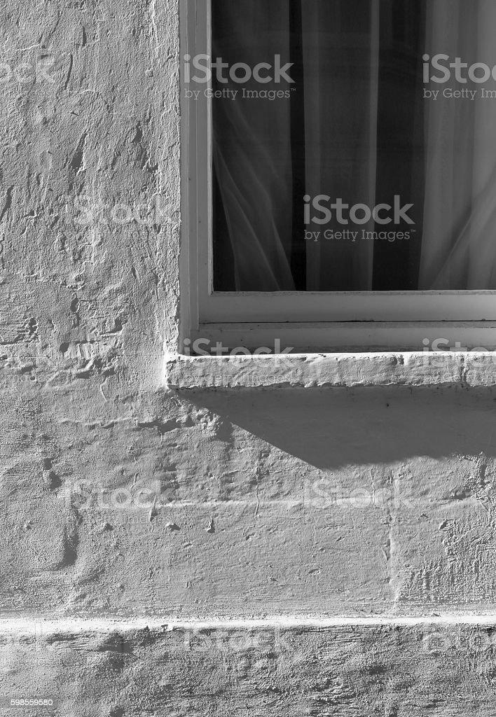 Vintage Window on White Wall stock photo