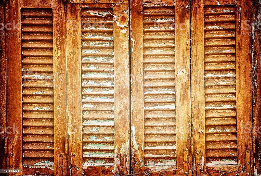 Vintage window shutters background stock photo