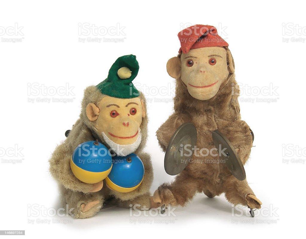 Vintage Wind-up Monkey Toys royalty-free stock photo