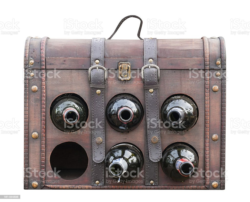 Vintage wine bag isolated on white with clipping path royalty-free stock photo