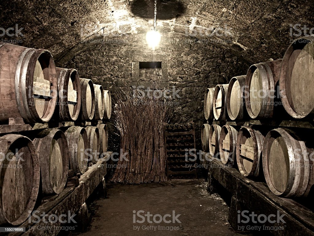 Vintage wine cellar with old wooden kegs royalty-free stock photo