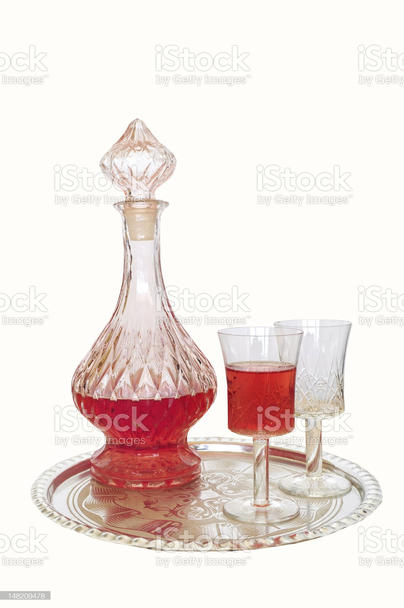 Vintage wine decanter and two glasses royalty-free stock photo