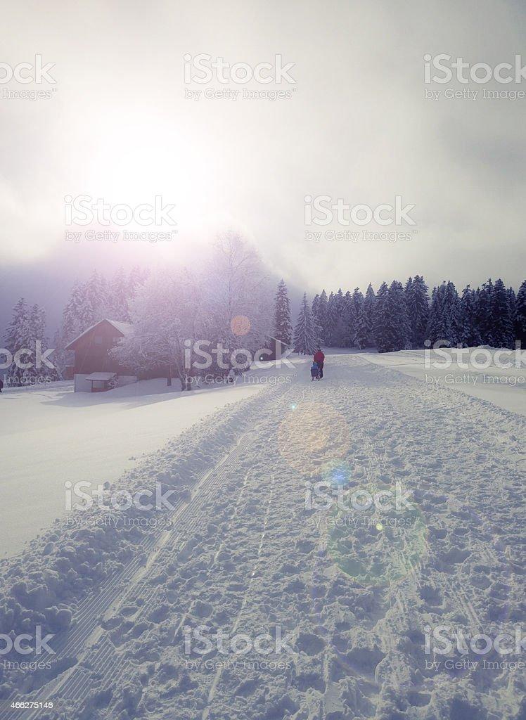 Vintage: Winter Hiking stock photo