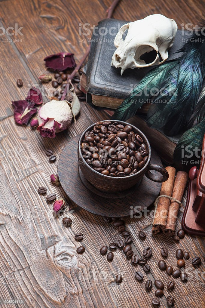 Vintage witchcraft still life stock photo