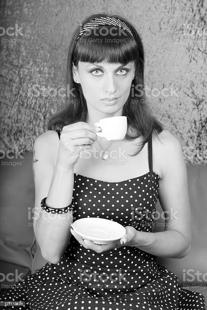 Vintage Woman Drinking Coffee royalty-free stock photo