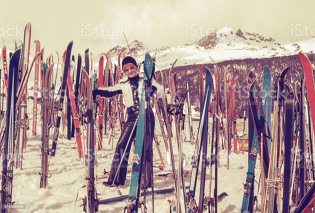 Vintage woman in a ski resort stock photo