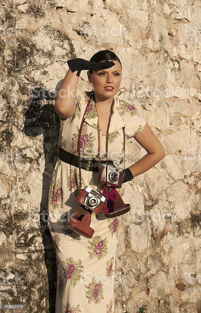 Vintage Woman Photographer royalty-free stock photo