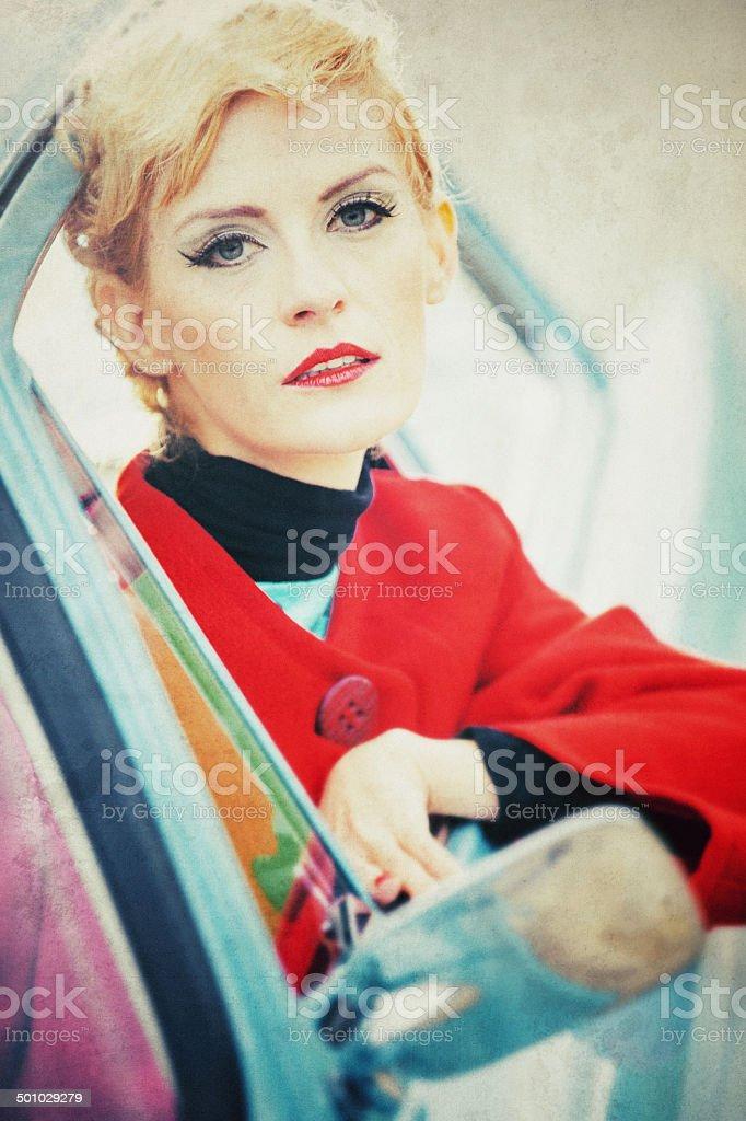 Vintage woman portrait in a car stock photo
