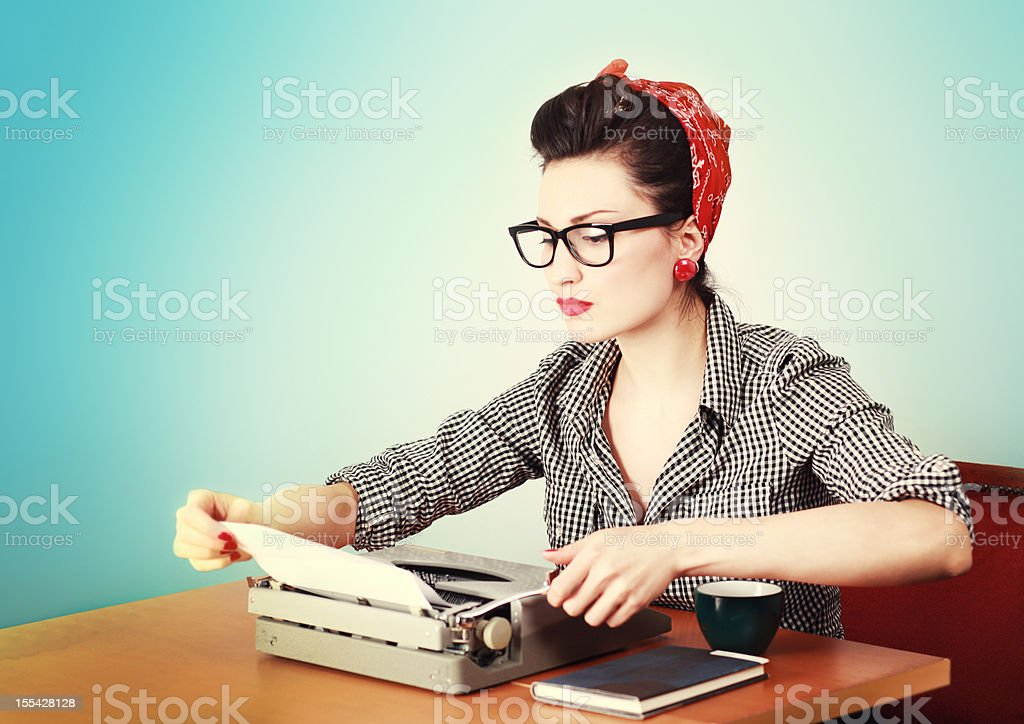 Vintage Woman Writer stock photo