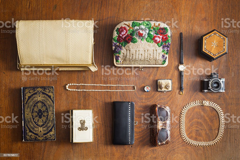 vintage woman's accessories stock photo
