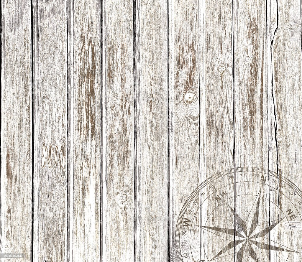 Vintage wood background with compass stock photo