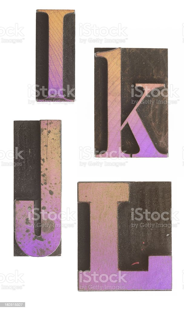 I K J L - Vintage Wood Letterpress Alphabet. royalty-free stock photo
