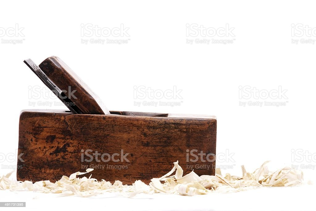 Vintage Wood Planer with Wood Shavings stock photo