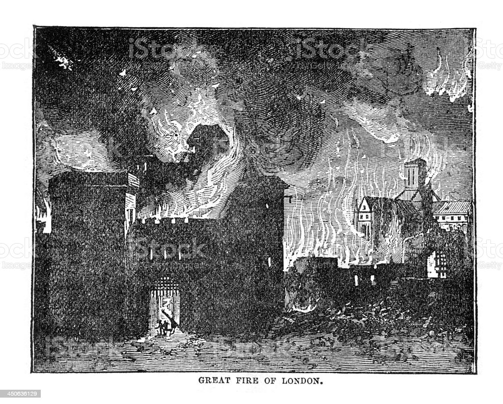 Vintage Woodcut Artwork Great Fire London stock photo