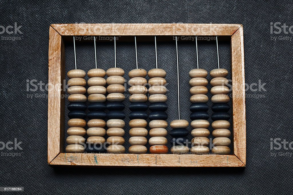 vintage wooden abacus. ancient calculator stock photo