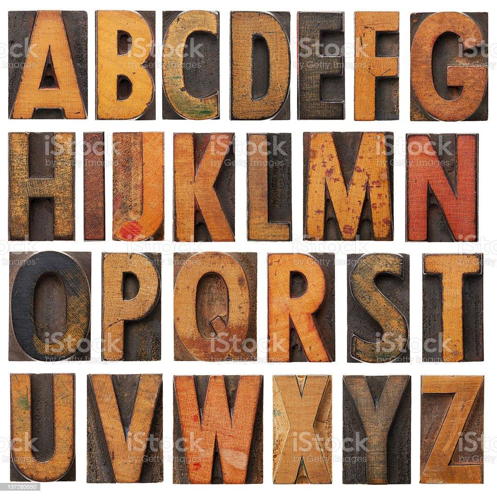 Vintage wooden alphabet blocks stock photo