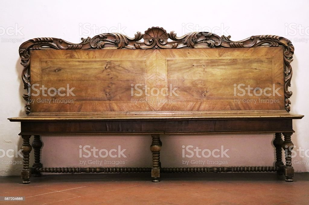 Vintage wooden bench stock photo