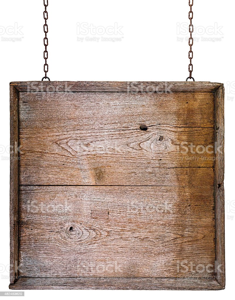 Vintage wooden board background hanging from chains. stock photo