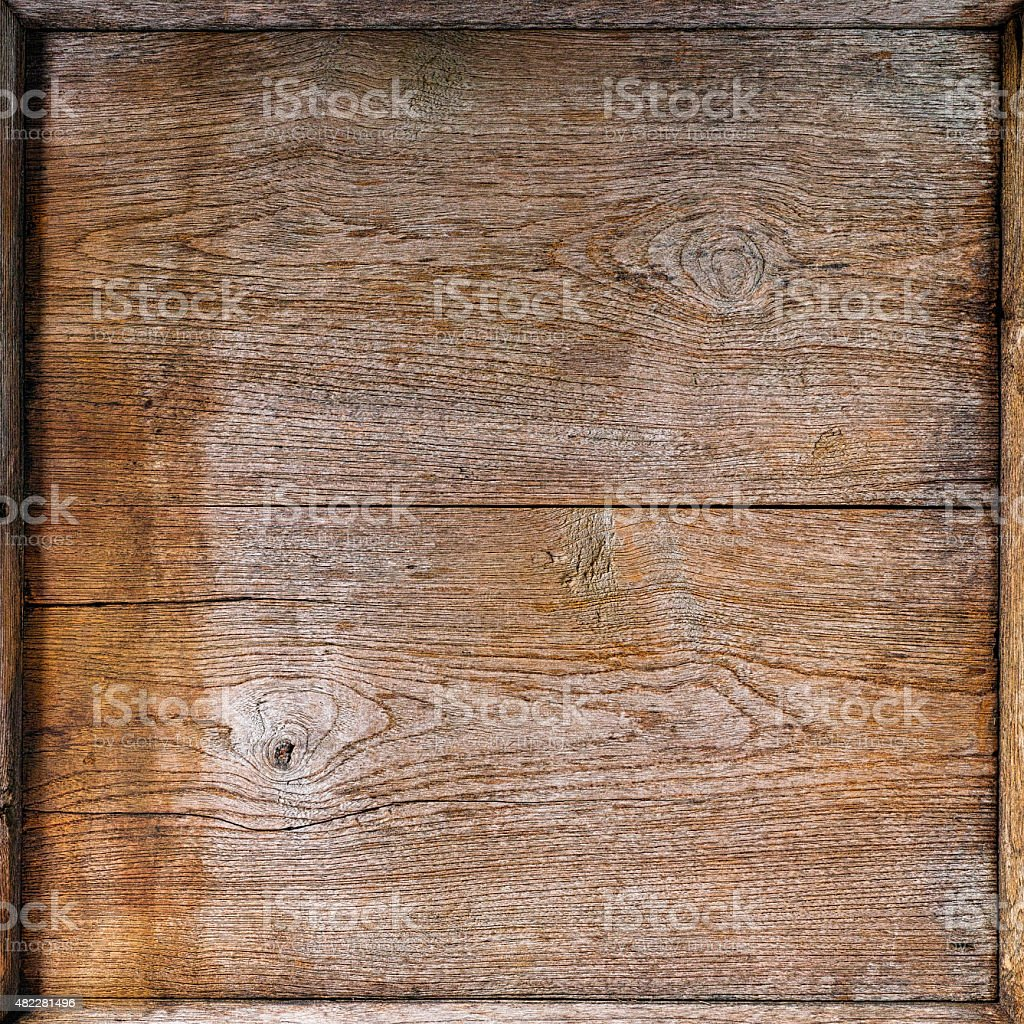 Vintage wooden board background with edge frame. stock photo