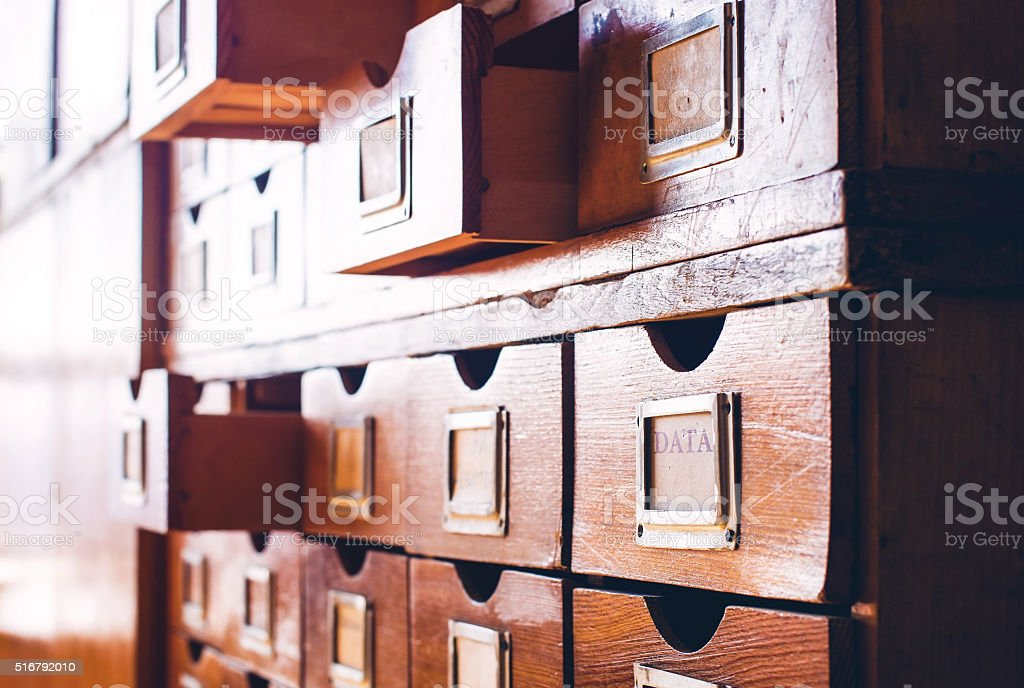 Vintage wooden catalog stock photo