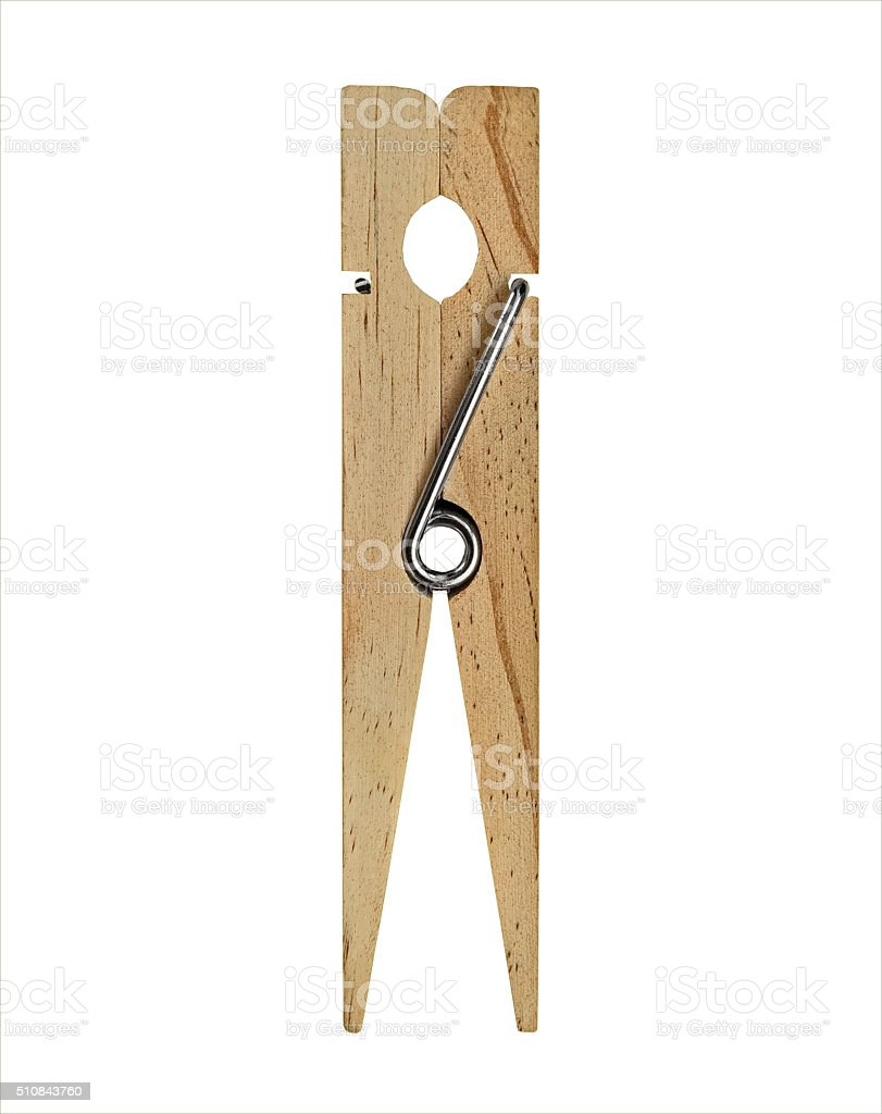vintage wooden clothespin stock photo