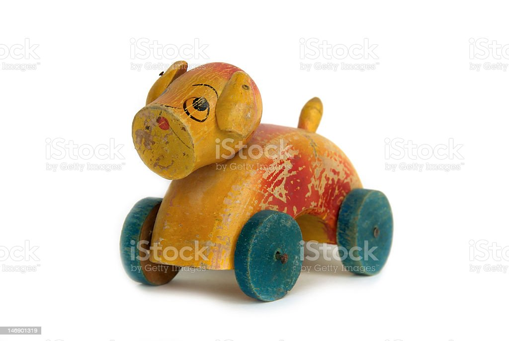 Vintage Wooden Dog Toy royalty-free stock photo