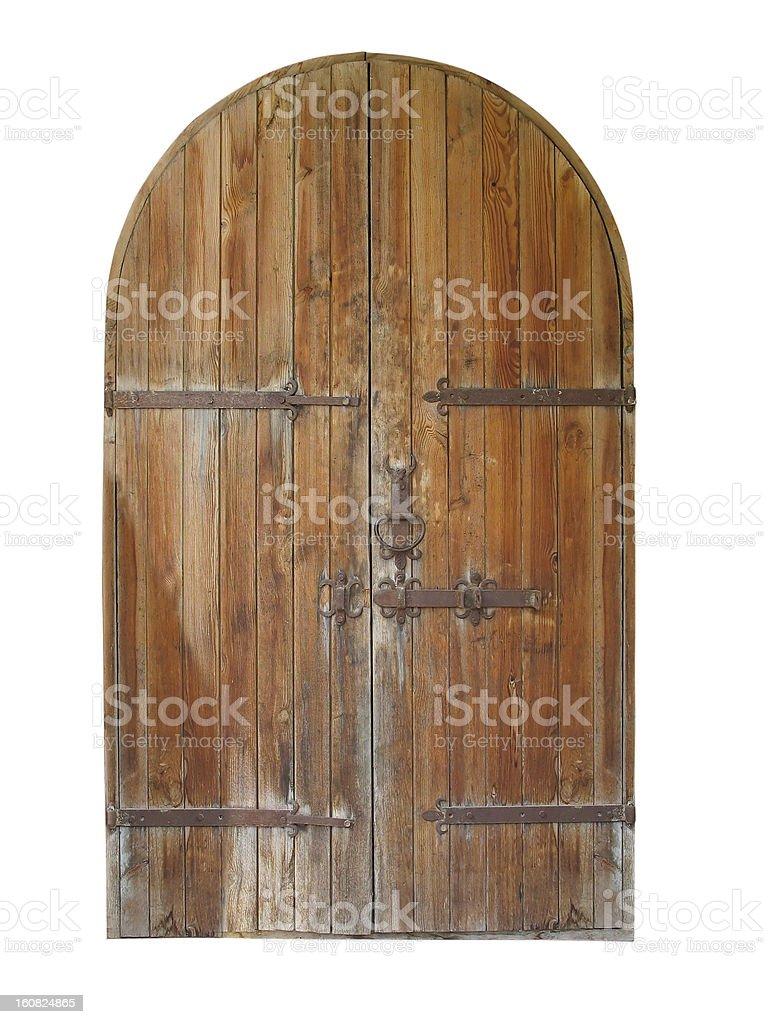 vintage Porta de madeira isolada sobre o branco foto de stock royalty-free