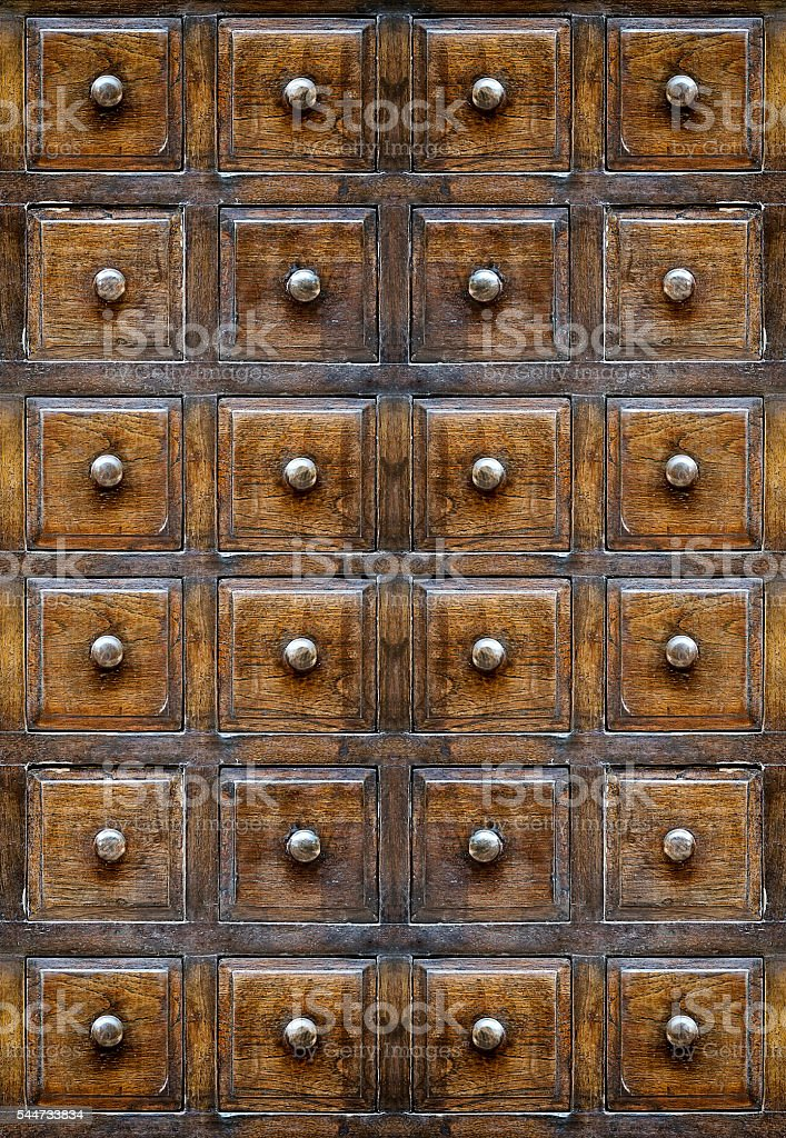 Vintage wooden drawers stock photo