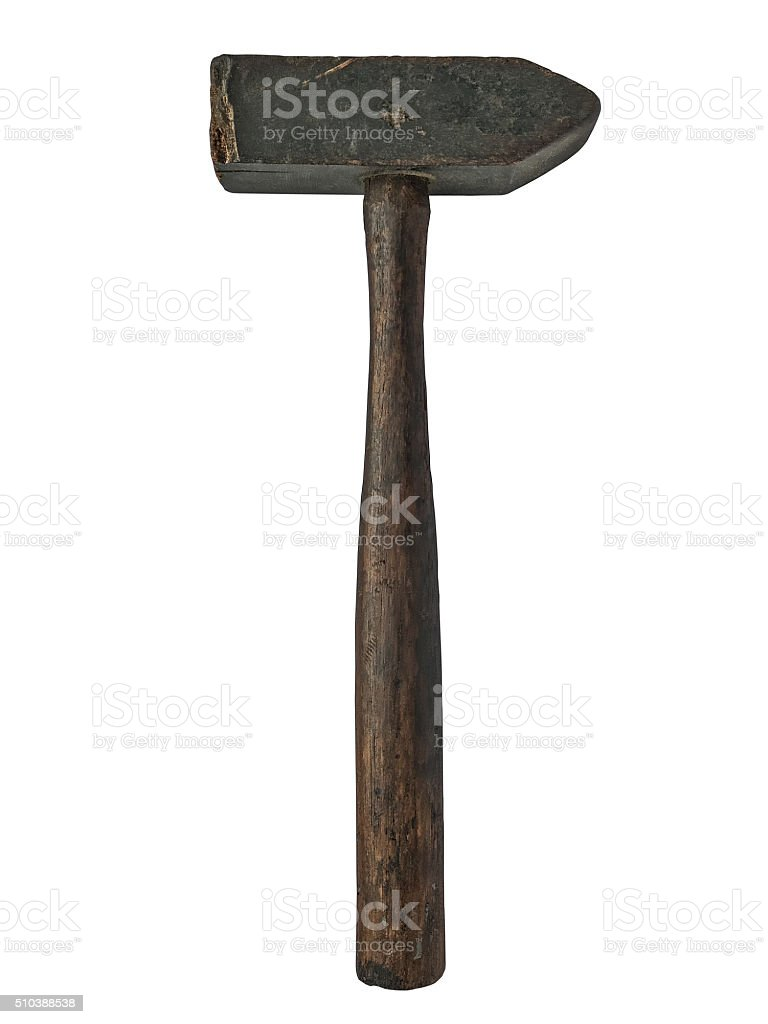 vintage wooden hammer stock photo