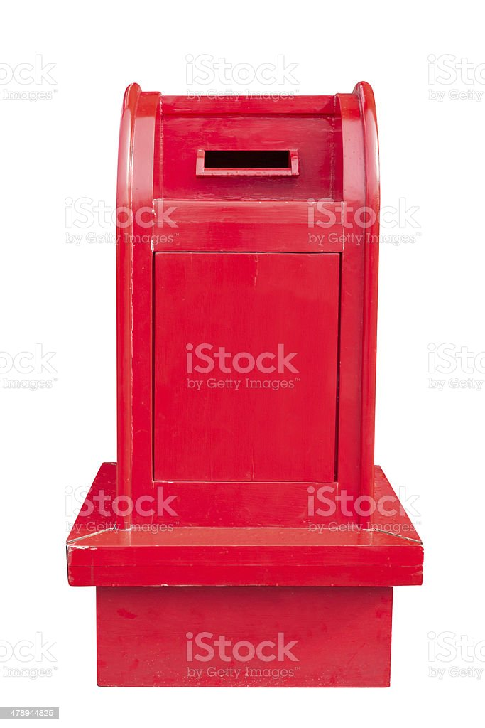 Vintage Wooden Mailbox isolated on white with clipping path stock photo