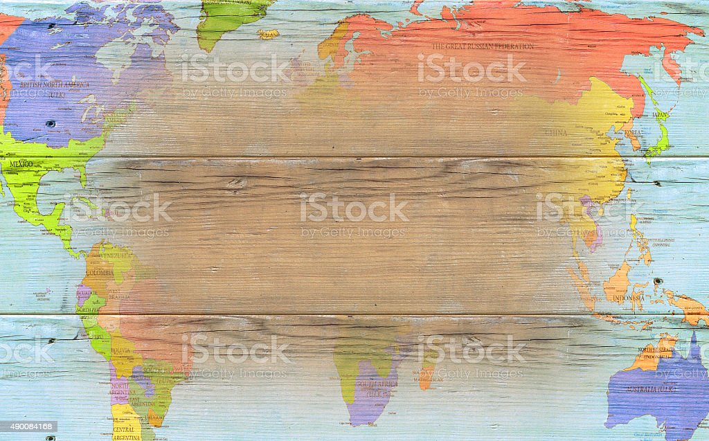 Vintage wooden map - background stock photo