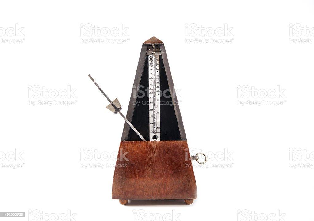 Vintage wooden metronome stock photo