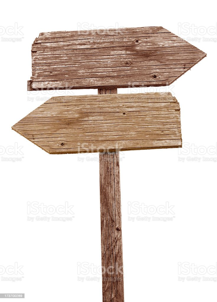 Vintage wooden road sign pointing in different directions stock photo