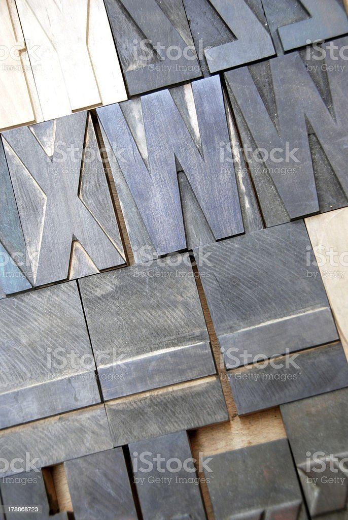 Vintage wooden type letters royalty-free stock photo