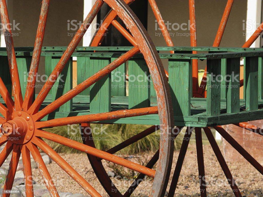 Vintage Wooden Wagon Wheel stock photo