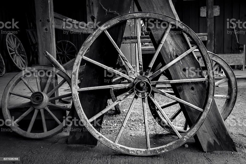 Vintage wooden wagonwheels stock photo