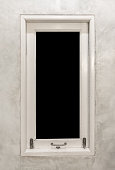 vintage wooden window with empty black space in the middle
