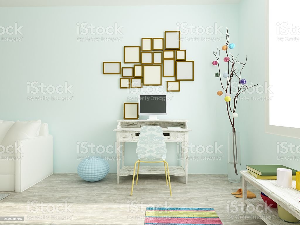 Vintage work place, modern room in white and blue colors stock photo