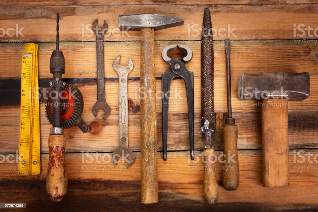 Vintage work tools in a row stock photo