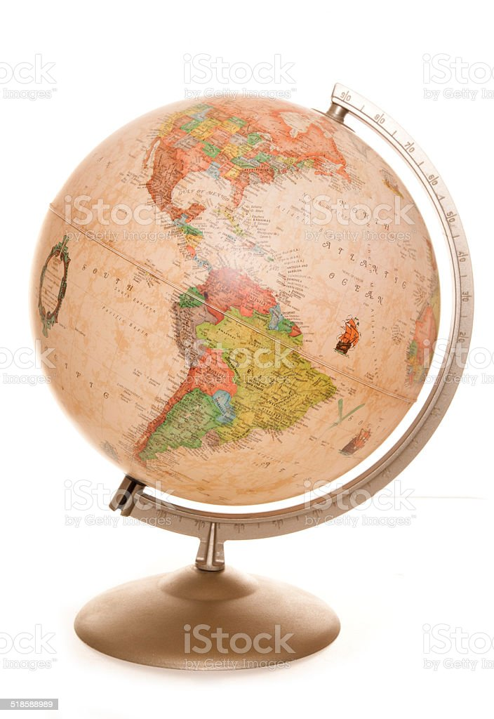 vintage world globe desk lamp stock photo