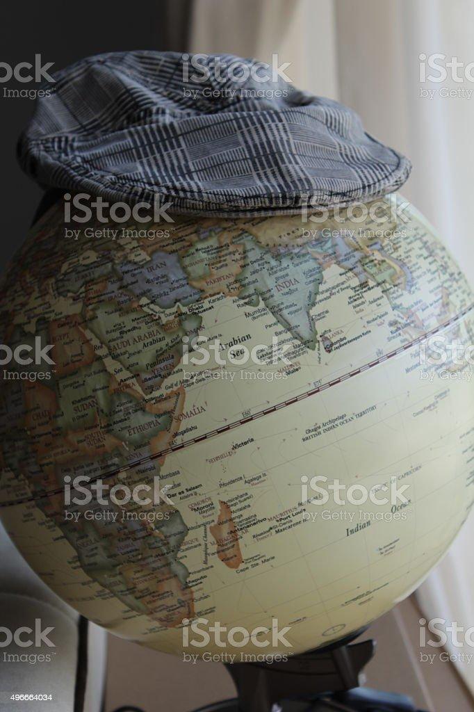 Vintage world globe. stock photo